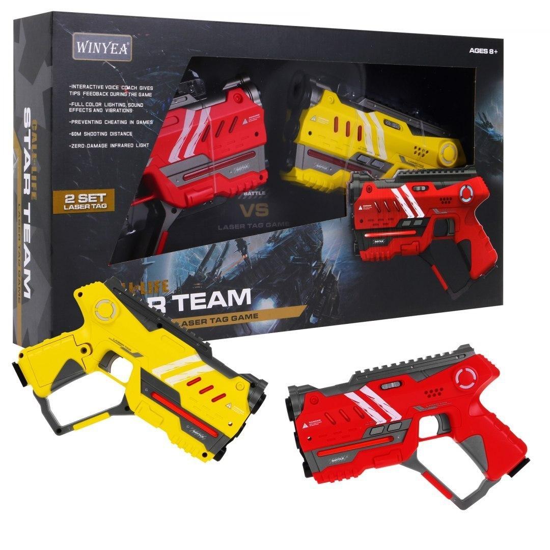 Paintball Laserowy dla dzieci - dwa pistolety Laser Tag - Żółty Czerwony