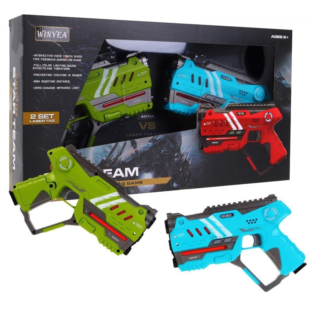 Paintball Laserowy dla dzieci - dwa pistolety Laser Tag - Zielony Niebieski