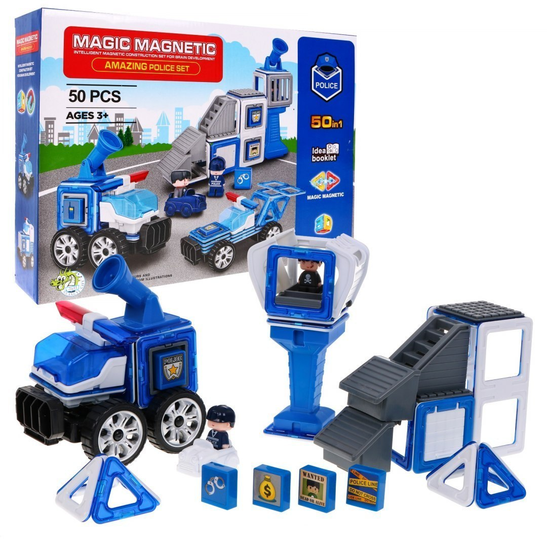 Magiczne Klocki Magnetyczne Posterunek Policji Radiowozy