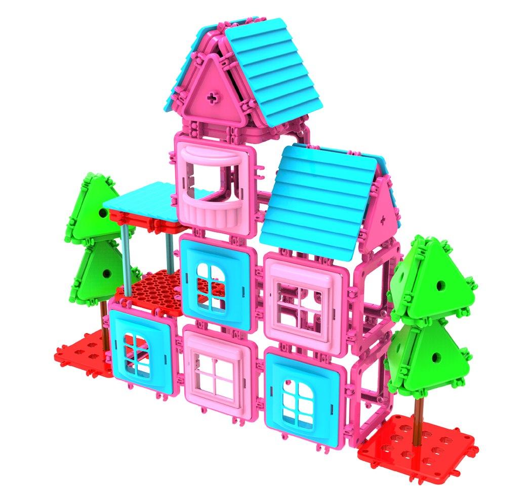 Image of Klocki konstrukcyjne MAGKINDER płytki 105 elementów - My Sweet Home